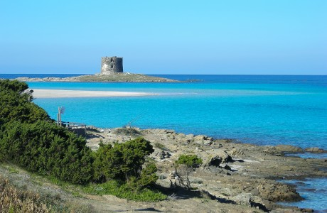 La Pelosa beach with the Aragonese tower on the background