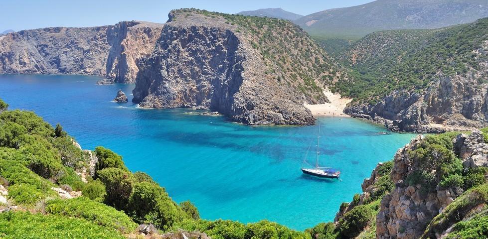 Cala Domestica beach, town of Buggerru, Sardinia, Italy